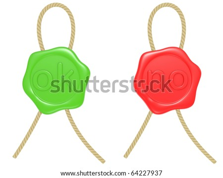 green and red  wax seal isolated on a white background