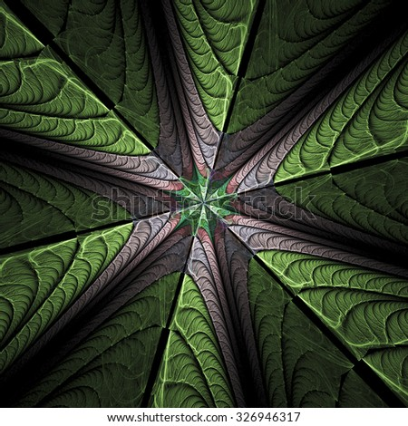 Green and rose leaves on black background. Abstract floral texture. Computer-generated fractal image.