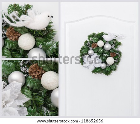 Green and white collage of Christmas artificial pine wreath with berries and cones