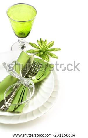 green and white dining set isolated on white background