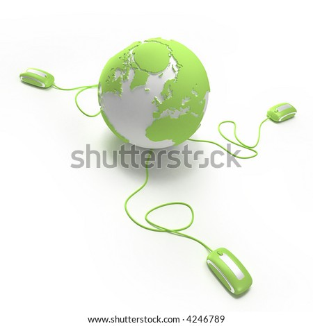 "Green and white Earth Globe connected with three computer ""mouses""."