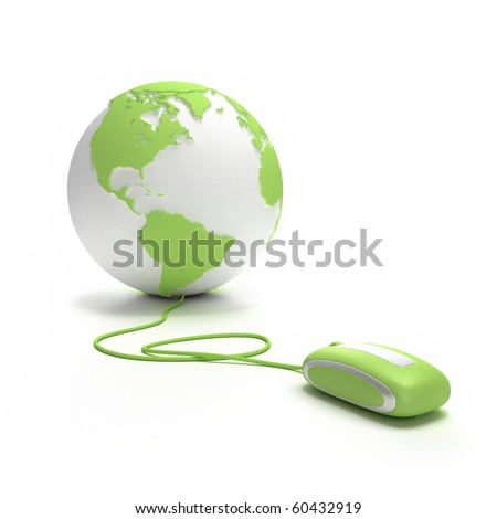 Green and white Earth Globe oriented to America connected with a computer mouse