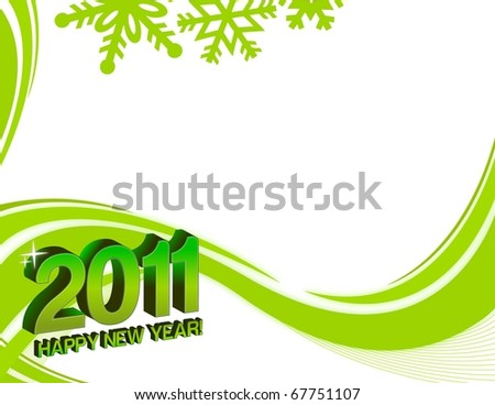Green and white happy new years card with background design.