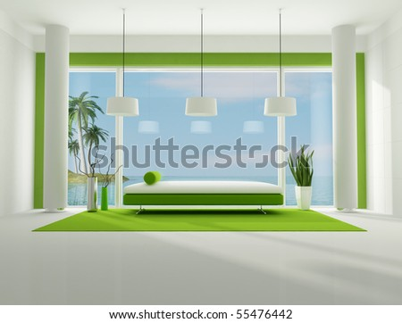 green and white interior of a beach house,the image on background is my rendering composition available in my portfolio