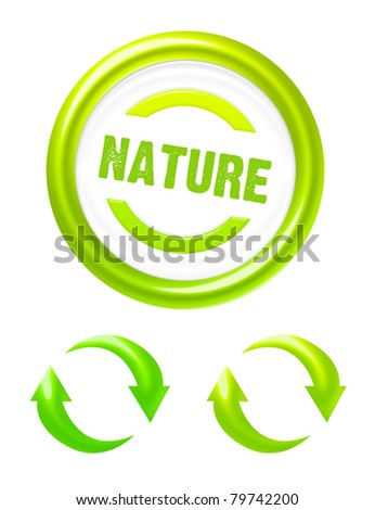 green and white nature icons isolated over white background