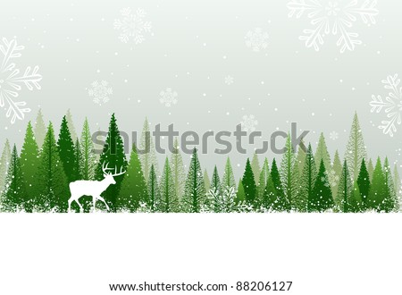 Green and white winter forest grunge background design
