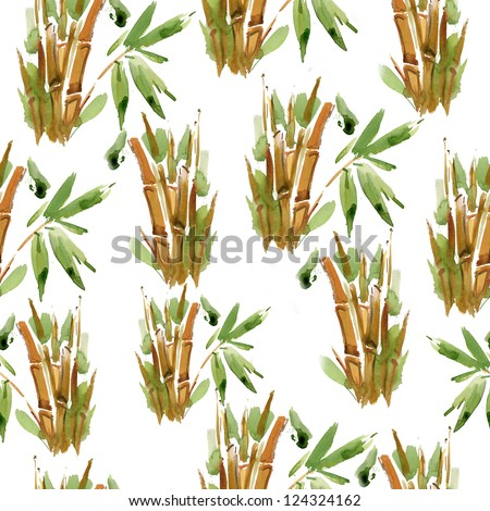 green and yellow bamboo pattern. watercolor