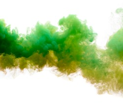 Green and yellow smoke isolated on a white background.