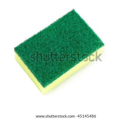 green and yellow sponge isolated on white