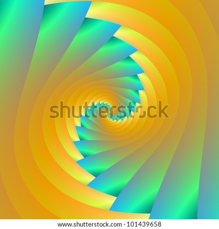 Green and Yellow Twister - Digital abstract image with a spiral design in green and yellow