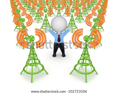 Green antennas and 3d small person.Isolated on white background.3d rendered.