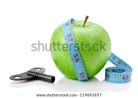 green apple and blue measure tape with clue isolated on white background