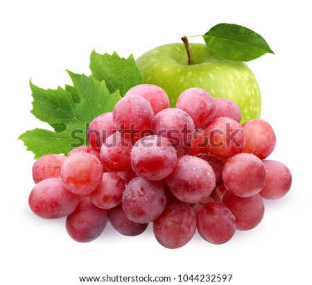 Green Apple and brush of red grapes with water drops with leaves, isolated on white background. fruit, berries, food. #1044232597
