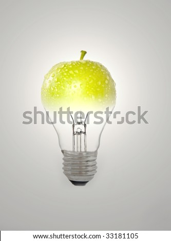 Green apple and bulb