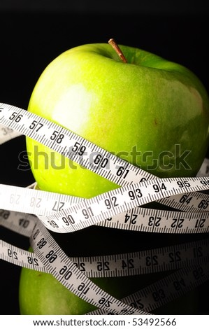 green apple and measure