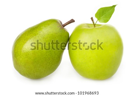 green apple and pear on white background