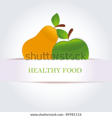 Green apple and pears as organic and healthy food symbol
