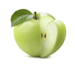Green apple cut quarter piece isolated on white background as package design element