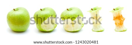 green apple eating progression isolated on white  Foto d'archivio ©