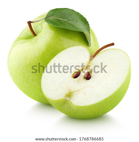 Green apple fruit with green apple half and leaf isolated on white background. Green apples with clipping path. Full Depth of Field