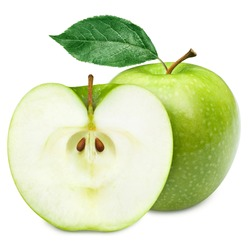 Green apple fruits and half of apple and green leaves isolated on white background