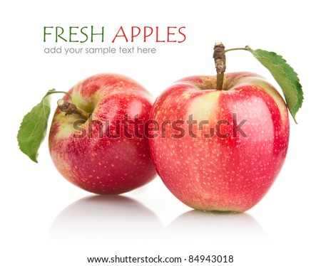 green apple fruits with leaf isolated on white background