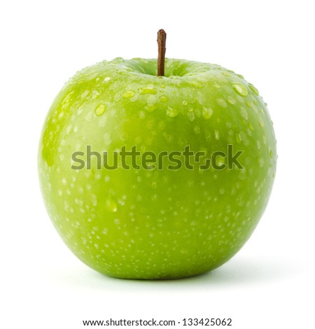 Green apple Granny Smith covered in water droplets isolated against a white background.