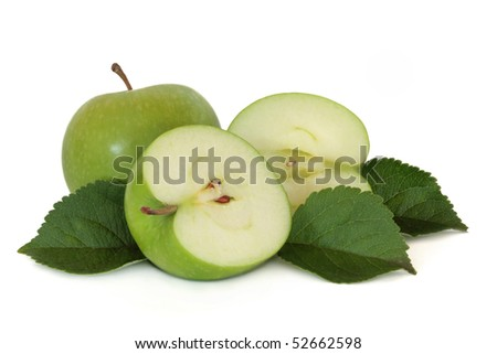 Green Apple Varieties http://www.shutterstock.com/pic-52662598/stock-photo-green-apple-group-whole-and-in-half-with-leaf-sprig-isolated-over-white-background-granny-smith.html