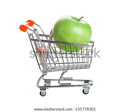 green apple in shopping carts isolated on white background