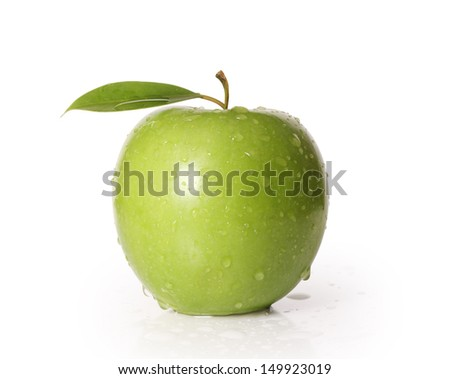 Green apple isolated on a white