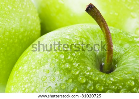 green apple macro in selective focus
