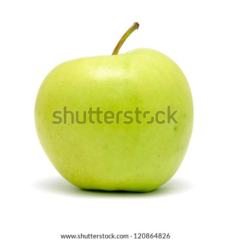 green apple on white background with shadow