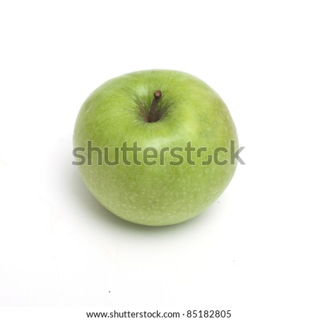 green apple over white