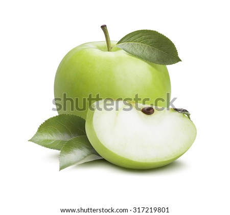 Green apple quarter piece composition isolated on white background as package design element