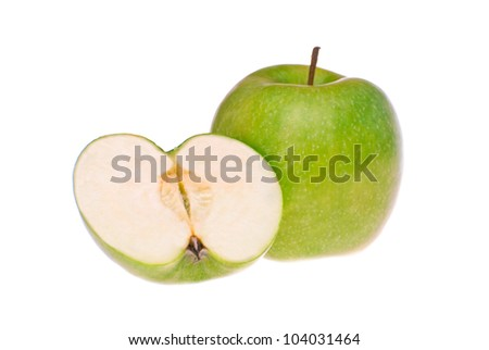 green apple shot on a white background