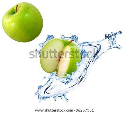 Green apple slices with water splash
