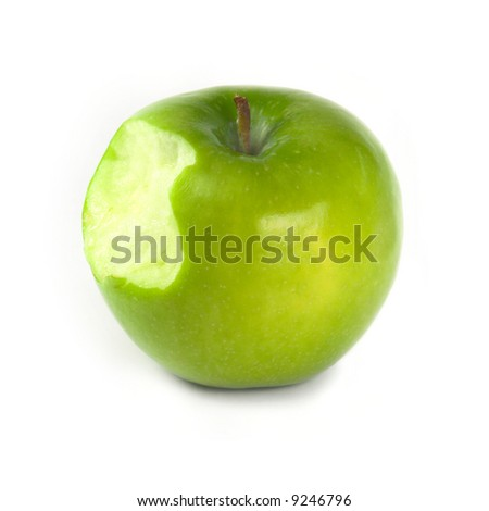 Green apple with bite on white background