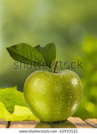 green apple with green background