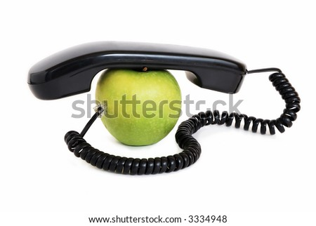 Green apple with handset and connected wire