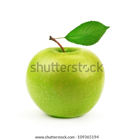 Green apple with leaf isolated on a white background