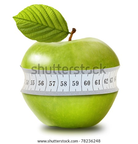 Shutterstock Green apple with measurement isolated on white