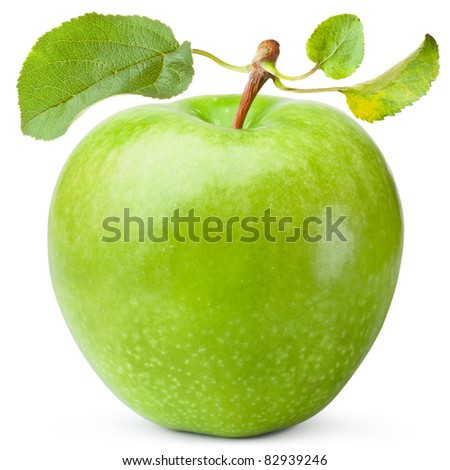 Green apple with three leaves. Isolated on white