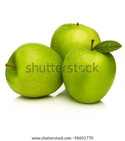 Green apple with water droplets on white background