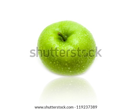 Green apple with water splashes on the isolated white background