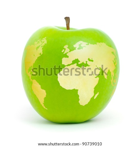 Green apple world map on white background.