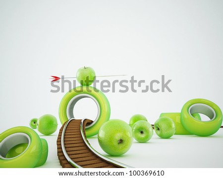 green apples along a railroad