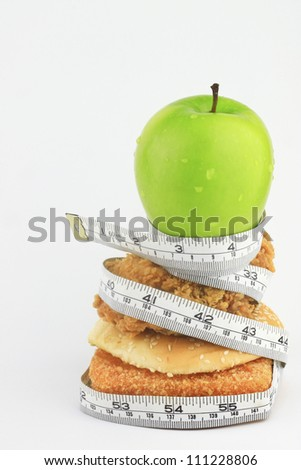 Green apples and chicken, and hamburgers in the  measure tape.