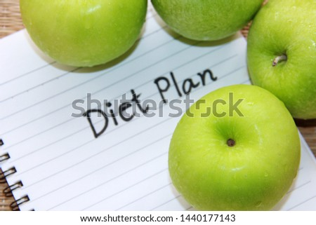Green apples and diet plan for Diet plan concepts.