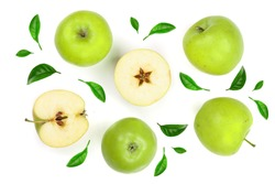 green apples decorated with leaves isolated on white background top view. Set or collection. Flat lay pattern