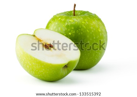 Green apples Ganny Smith covered in water droplets isolated against a white background. - stock photo
